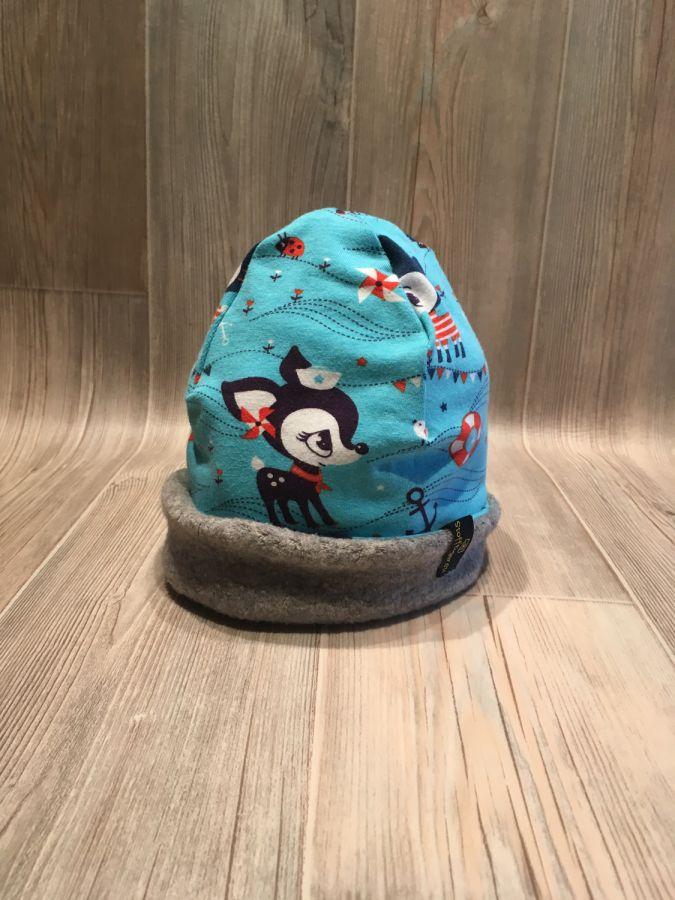 Einmal warm herum - Bambi türkis / Fleece hellgrau