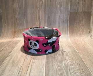 Stirnband Panda pink / Fleece hellgrau