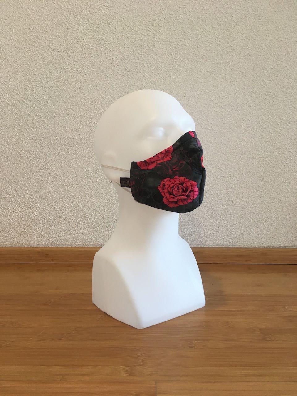 Mund- & Nasenmaske skull mit rote Rosen schwarz / hellgrau