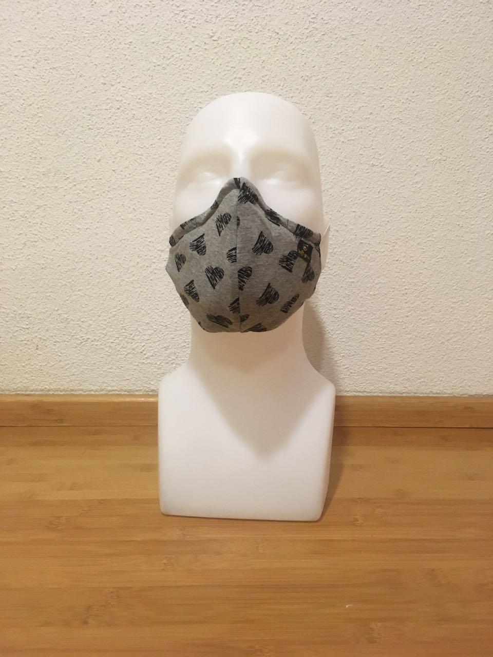 Mund- & Nasenschutzmaske herzl schwarz