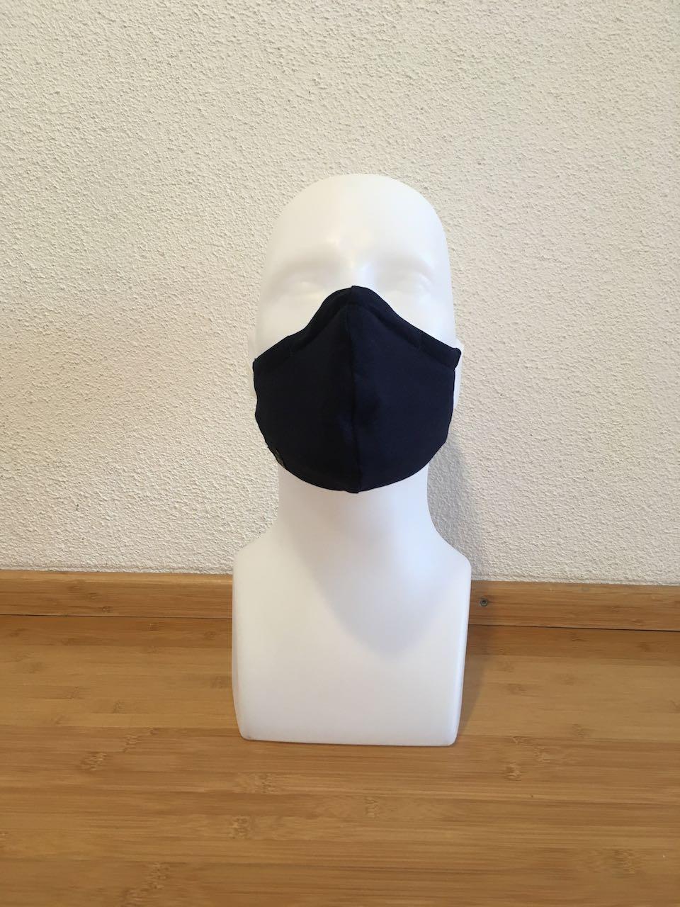 Mund- & Nasenmaske grau mit blaue Sterne / dunkel blau