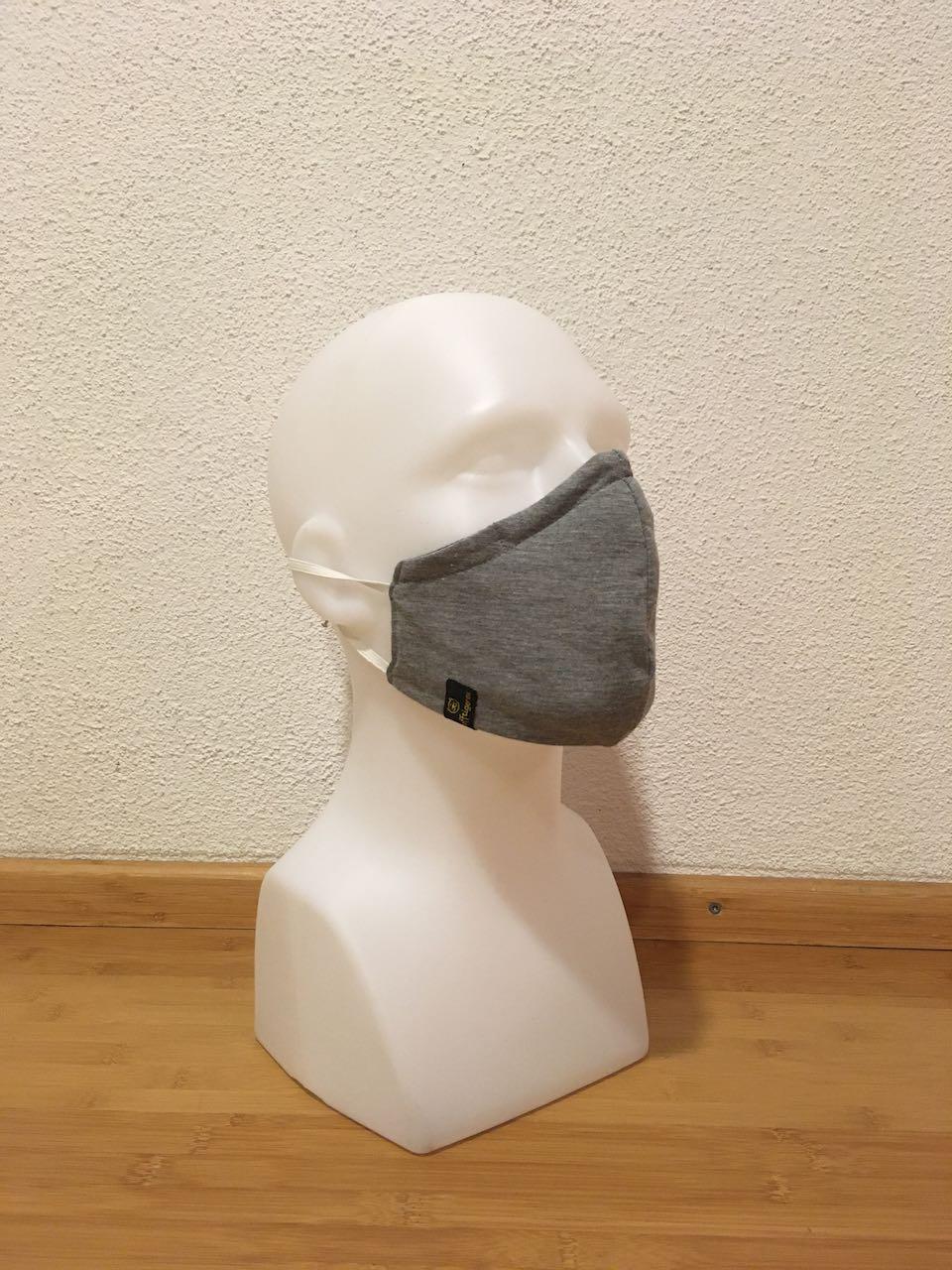Mund- & Nasenmaske dunkelgrau mit silberpunkte