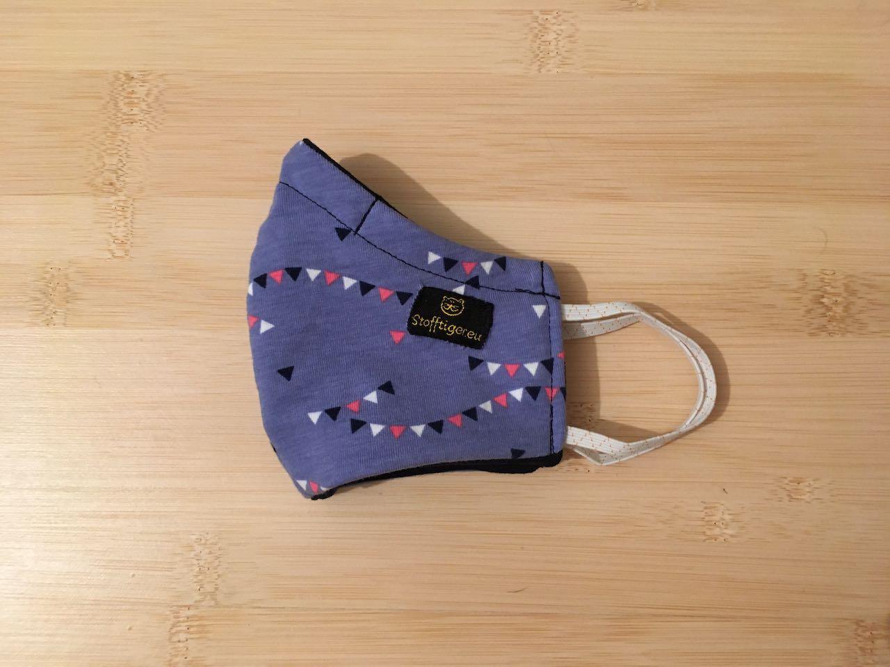 Kinder Mund- & Nasenmaske Wipperl violett / dunkel blau