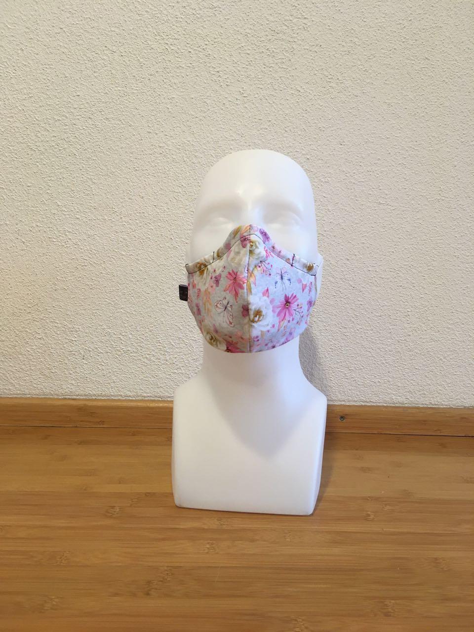 Mund- & Nasenmaske Blumen mit Schmetterling / dunkelblau